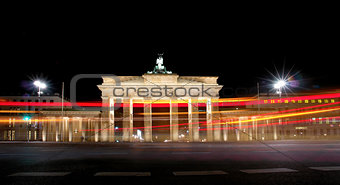 Brandenburg Gate at night, a former Berlin city gate