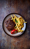 Grilled Hamburger with French Fries
