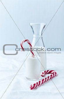 Christmas Candy Cane in a Bottle of Milk