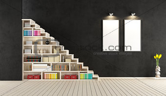 Modern black room with wooden staircase