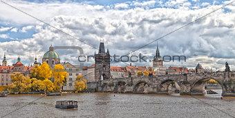 Prague Charles bridge in fall