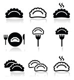 Dumplings, food vector icons set
