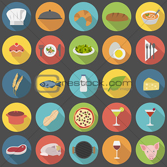 Chef's flat icons set