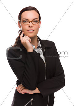 Professional Mixed Race Businesswoman Isolated on White