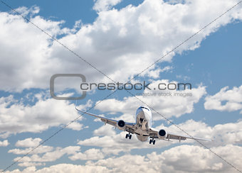 Jet Airplane Landing with Dramatic Clouds Behind