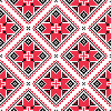 Ukrainian traditional folk knitted red embroidery pattern