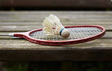 badminton racket on the old table