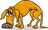 sad homeless dog cartoon illustration