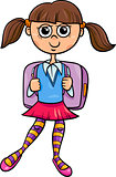 primary school girl cartoon illustration