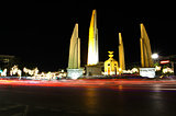 Democracy monument at night, bangkok, Thailand.