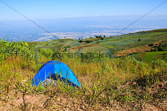 Camping tent in the mountains.