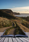 Book concept Sunrise landscape along coastal path UNESCO World H