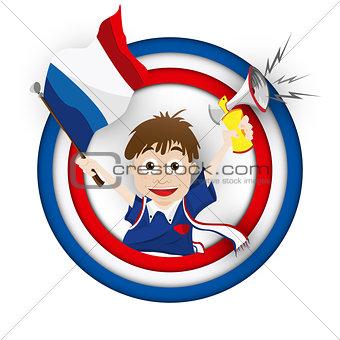 France Soccer Fan Flag Cartoon
