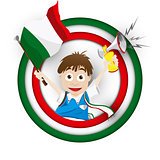 Italy Soccer Fan Flag Cartoon
