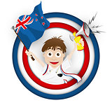 New Zealand Soccer Fan Flag Cartoon