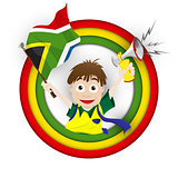 South Africa Soccer Fan Flag Cartoon