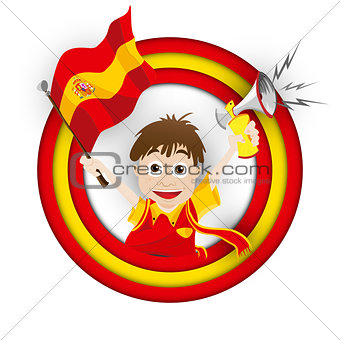 Spain Soccer Fan Flag Cartoon
