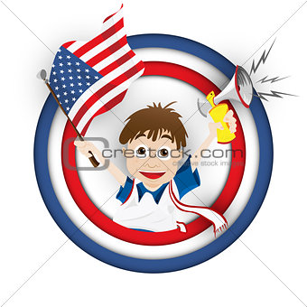 USA Soccer Fan Flag Cartoon