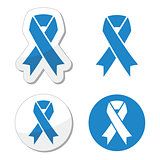 Blue ribbon - drunk driving, child abuse, anti-tobacco awareness symbol