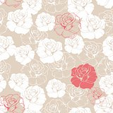 Tile floral vector pattern with classic white and red roses on beige background.