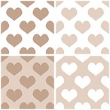 Seamless vector pastel hearts background set.