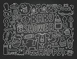Blackboard doodle baby background