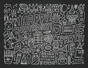 Blackboard Doodle Birthday party background