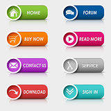 Colored set rectangular web buttons