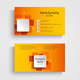 Modern orange square business card template