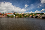 View on the spring Prague gothic Castle and Old Town