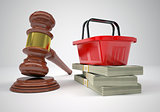 Gavel, wads money and shopping basket