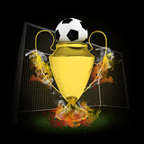 Soccer Cup and ball in colored smoke