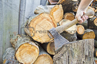 Axe and fire wood