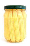 Preserved mini corn ears in glass jar