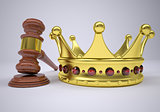 Gavel and gold crown