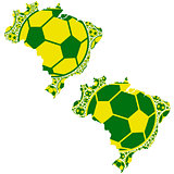 Brazil map with soccer balls