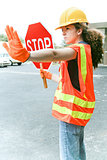 Female Worker Directs Traffic