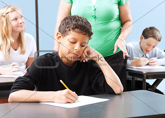 Student Struggling with Test