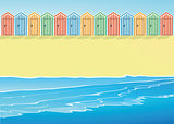 Beach with beach huts