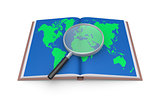 Examine the world map with magnifier