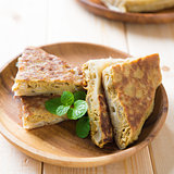 Pan fried stuffed bread murtabak