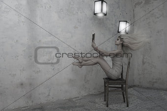 A beautiful girl with long hair in a mysterious and gloomy room, sitting on an old chair, reading a book surrounded by the order of paper lanterns in the air