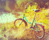 Little green bicycle standing on green summer meadow