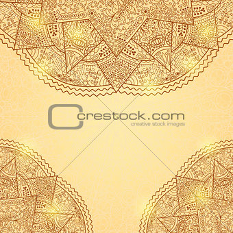 Shiny Gold Brown Invitation Card with Lace Mandala Decoration
