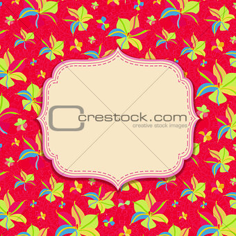 Bright Card with Label and Yellow Flowers