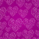 Seamless Pattern with Hatched Element in Form of Heart