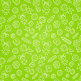 Seamless Pattern with Kid Silhouete on Green Background