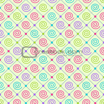 Abstract Seamless Ornament Pattern with Swirl