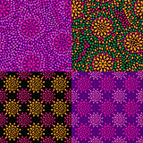Purple Seamless Pattern with Floral Texture Set