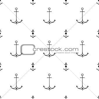 Old school tattoo style hand drawn nautical pattern
